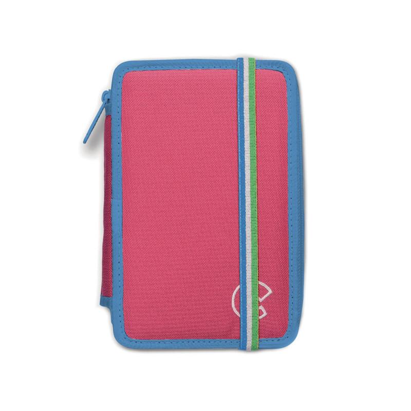 42801/PINK - CARIOCA - Astuccio 2 zip con Materiale Scolastico FLUO Rosa - Estuche - Pencil case - Trousse