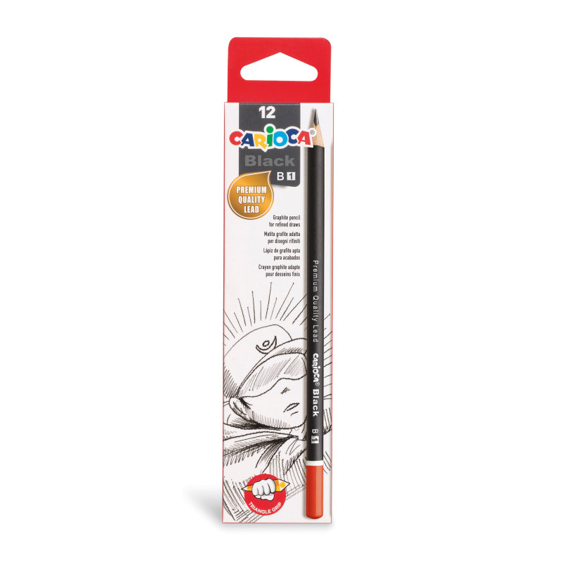 42930 - CARIOCA - Matite Grafite BLACK B 12 pz - Lápices de Grafito - Graphite Pencils - Crayons Graphite