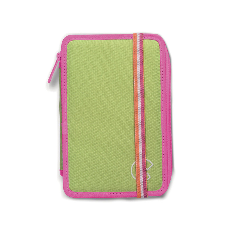 Astuccio 2 zip con Materiale Scolastico FLUO Verde - 1 pz