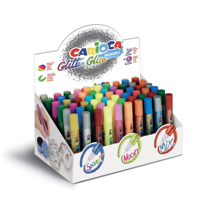 42115 - CARIOCA- Glitter Glue in Tubetto Colori Assortiti 10.5 ml 60 pz - Cola glitter - Glitter glue - Colle paillettées