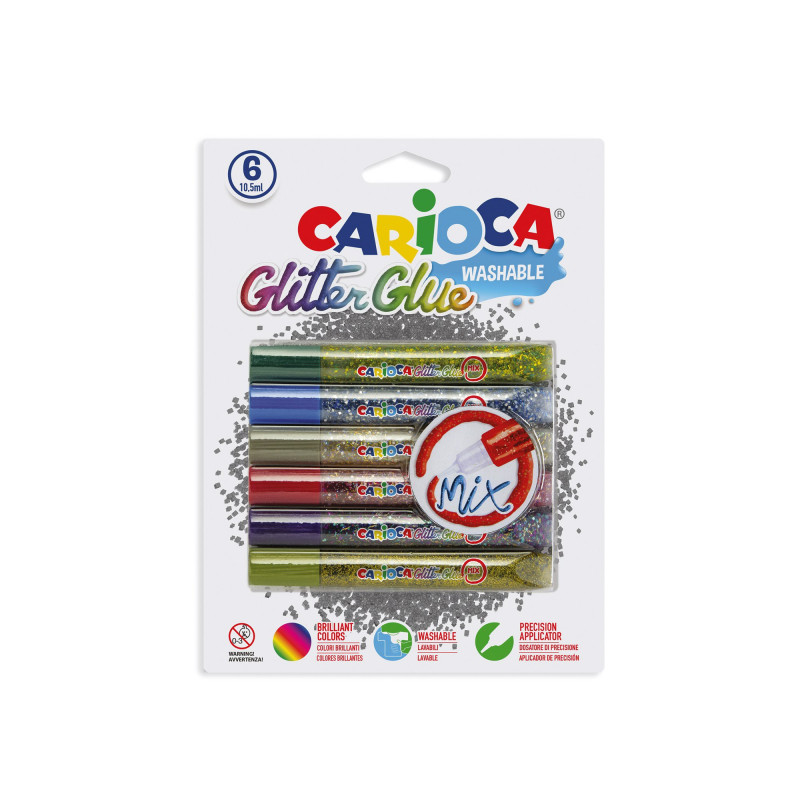 42112 - CARIOCA - Glitter Glue Mix 10.5 ml 60 pz - Cola glitter - Glitter glue - Colle paillettées
