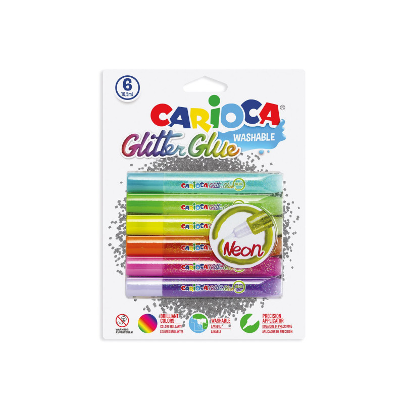 42111 - CARIOCA- Glitter Glue Neon in Tubetto 10.5 ml 60 pz - Cola glitter - Glitter glue - Colle paillettées