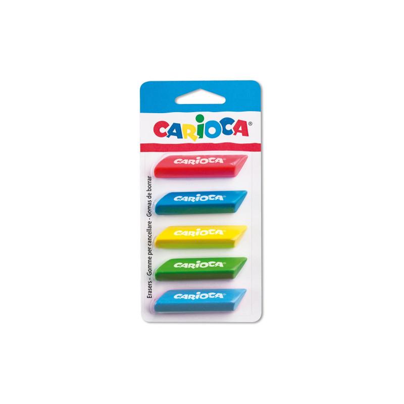 42783 - CARIOCA - Gomme Triangolari  Colarate 5 pz - Gomas - Erasers - Gommes