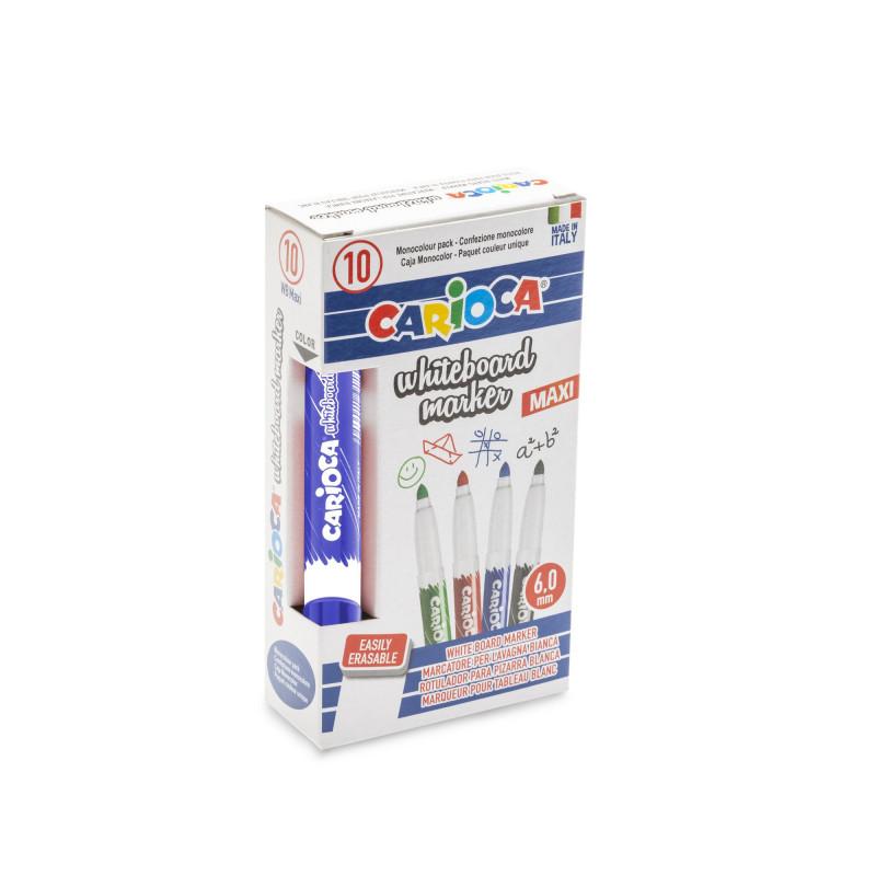 42924/02 - CARIOCA - Marcatore Lavagna Bianca Punta Maxi Blu 10 pz - Rotuladores borrables - Markers - Marquers