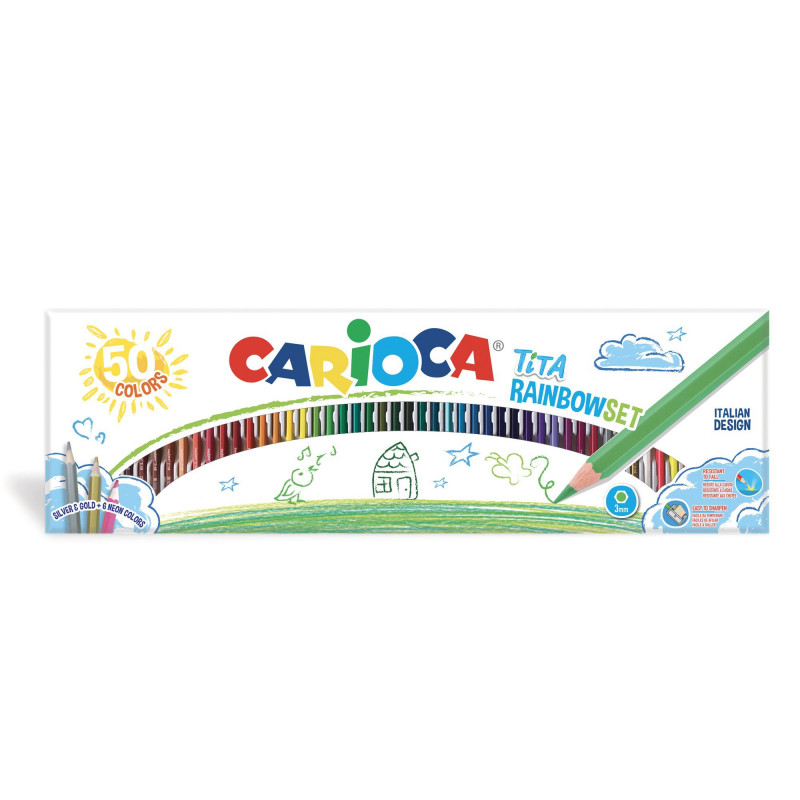 42990 - CARIOCA - Matite Colorate in Resina TITA Rainbow set 50 pz - Lápices - Pencils -  Crayons