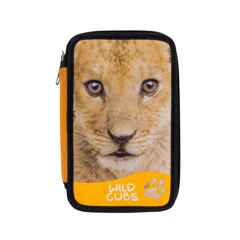 42353/LION - CARIOCA - Astuccio 2 zip con Materiale Scolastico WILD CUBS Leone - Estuche - Pencil case - Trousse