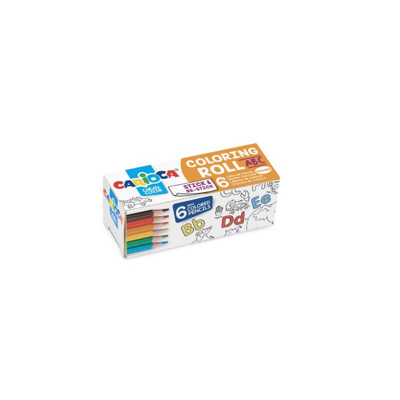 Mini rotolo di carta adesiva da colorare con 6 Mini Matite Colorate MINI COLORING ROLL - ABC