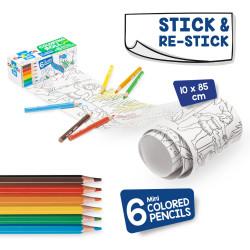 42982 - CARIOCA - Mini rotolo da colorare + 6 Matite ABC - Rollo adhesivo para colorear - Coloring roll - rouleau adhésif
