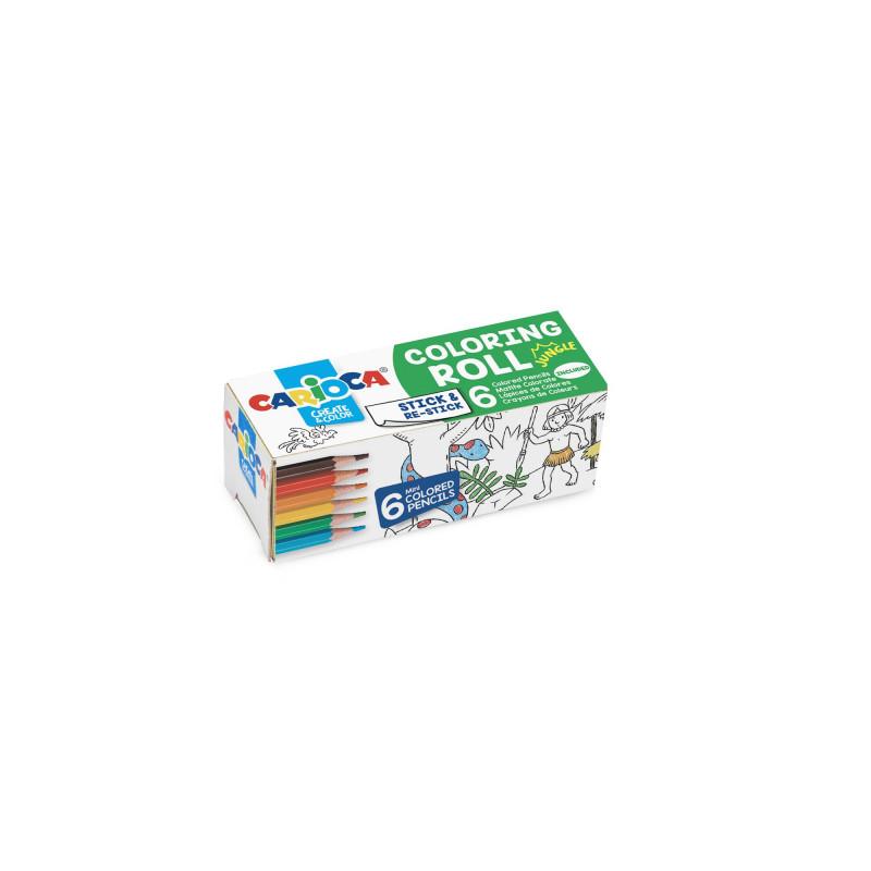 42981 - CARIOCA - Mini rotolo da colorare + 6 Matite Jungle - Rollo adhesivo para colorear - Coloring roll - rouleau adhésif