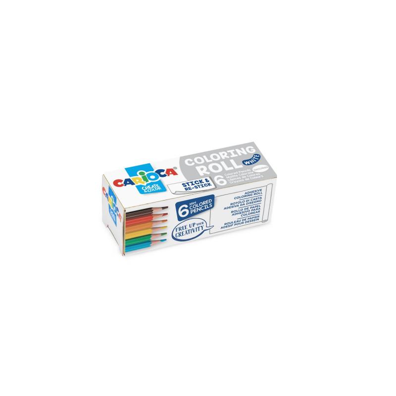 42983 - CARIOCA - Mini rotolo da colorare + 6 Matite White - Rollo adhesivo para colorear - Coloring roll - rouleau adhésif
