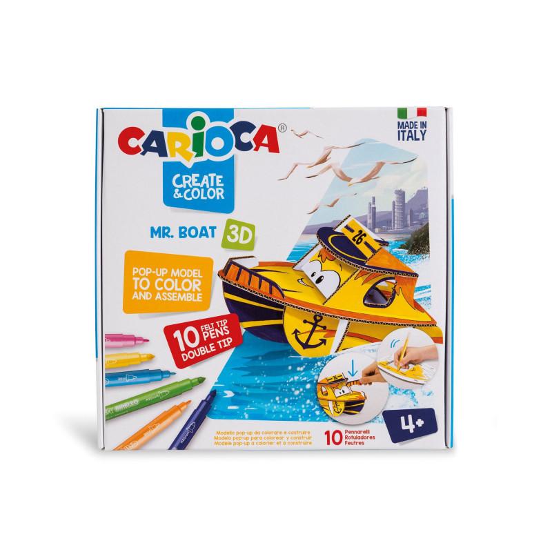 42905 - CARIOCA - Modello Pop Up 3D da colorare con 10 Pennarelli Superlavabili