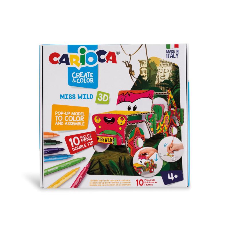 42906 - CARIOCA - Modello Pop Up 3D da colorare con 10 Pennarelli Superlavabili