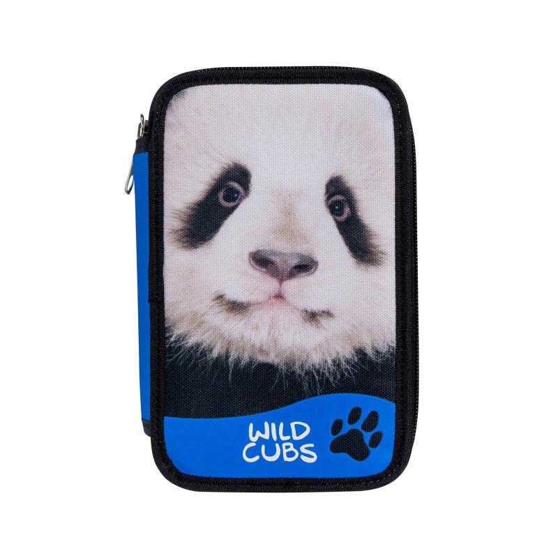 42353/PANDA - CARIOCA - Astuccio 2 zip con Materiale Scolastico WILD CUBS Panda - Estuche - Pencil case - Trousse