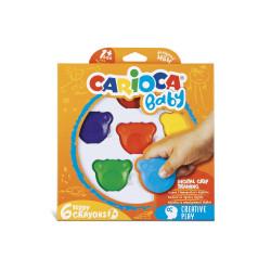 42956 - CARIOCA - Pastelli Colorati Orsetti BABY 6 pz - ceras de colores - colored wax crayons - crayons de couleur