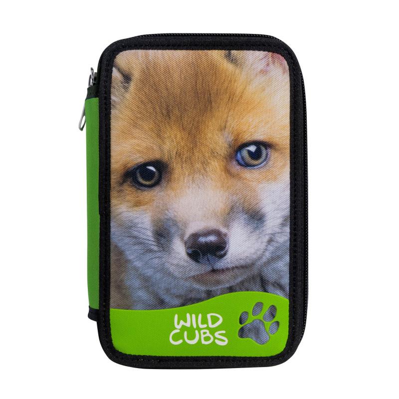 42353/FOX - CARIOCA - Astuccio 2 zip con Materiale Scolastico WILD CUBS Volpe - Estuche - Pencil case - Trousse