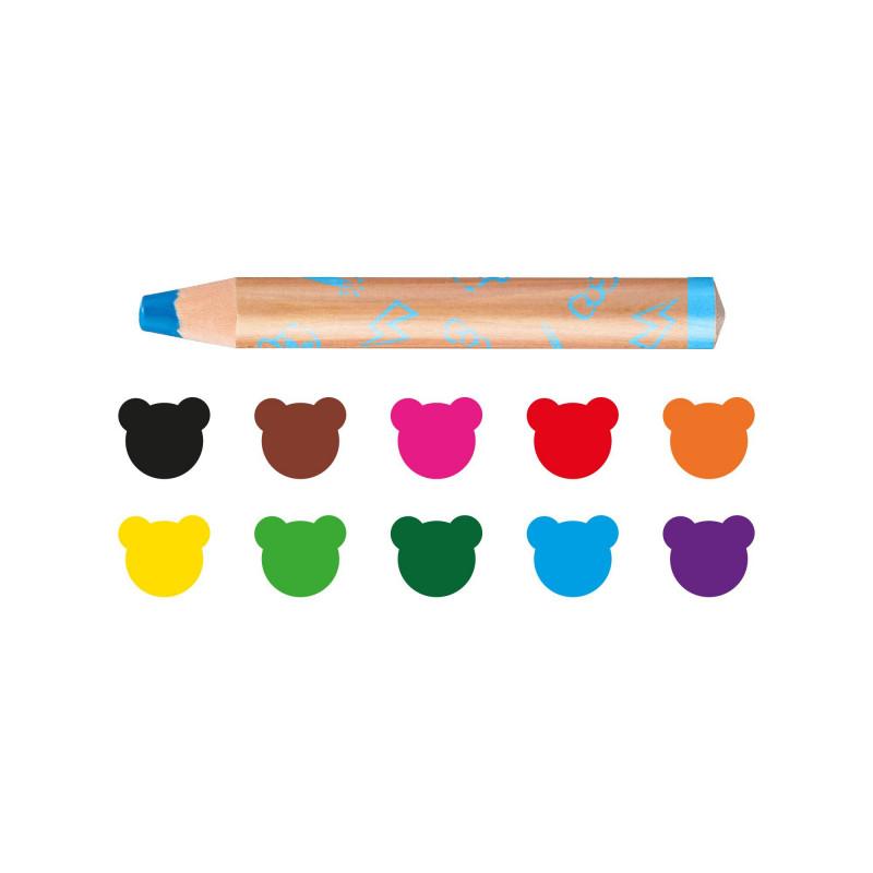 42818 - CARIOCA - Pastelloni 3 in 1 Extralarge BABY con Temperino 10 pz  - Lápices - crayons - crayons