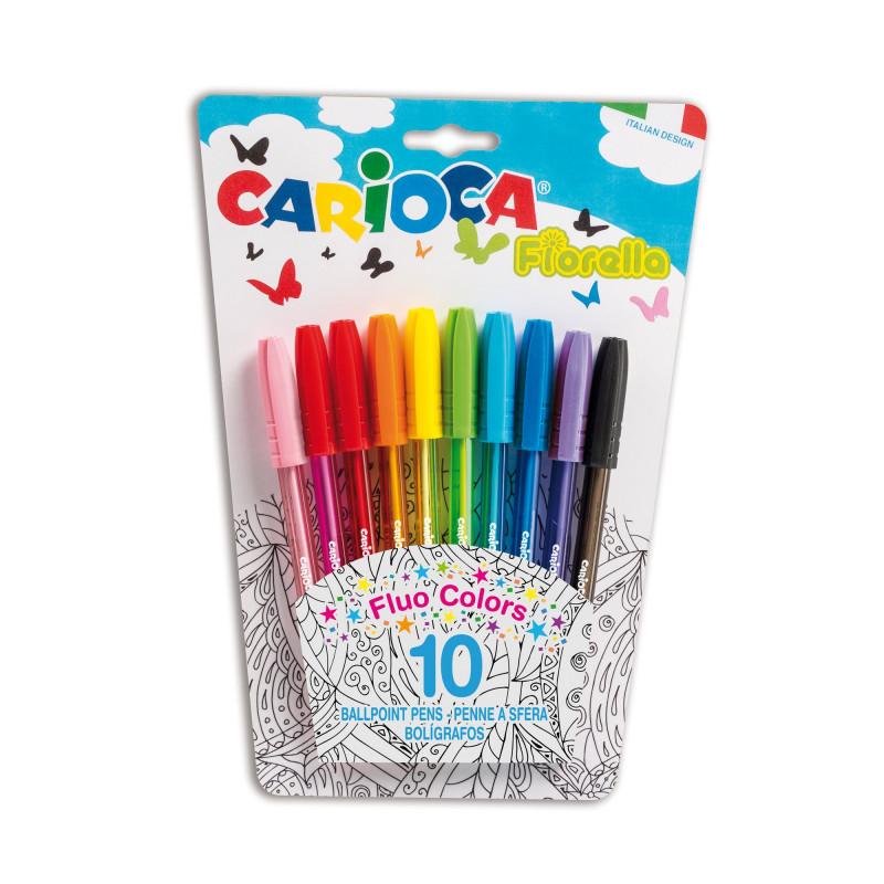 42775 -  CARIOCA - Penna a Sfera Colorata FIORELLA 10 pz - Bolígrafos de Colores - Colored Pens - Stylo de Couleur