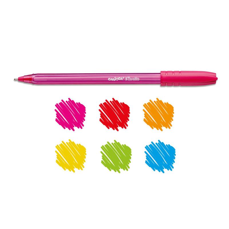 42774 -  CARIOCA - Penna a Sfera Colorata FIORELLA 6 pz - Bolígrafos de Colores - Colored Pens - Stylo de Couleur