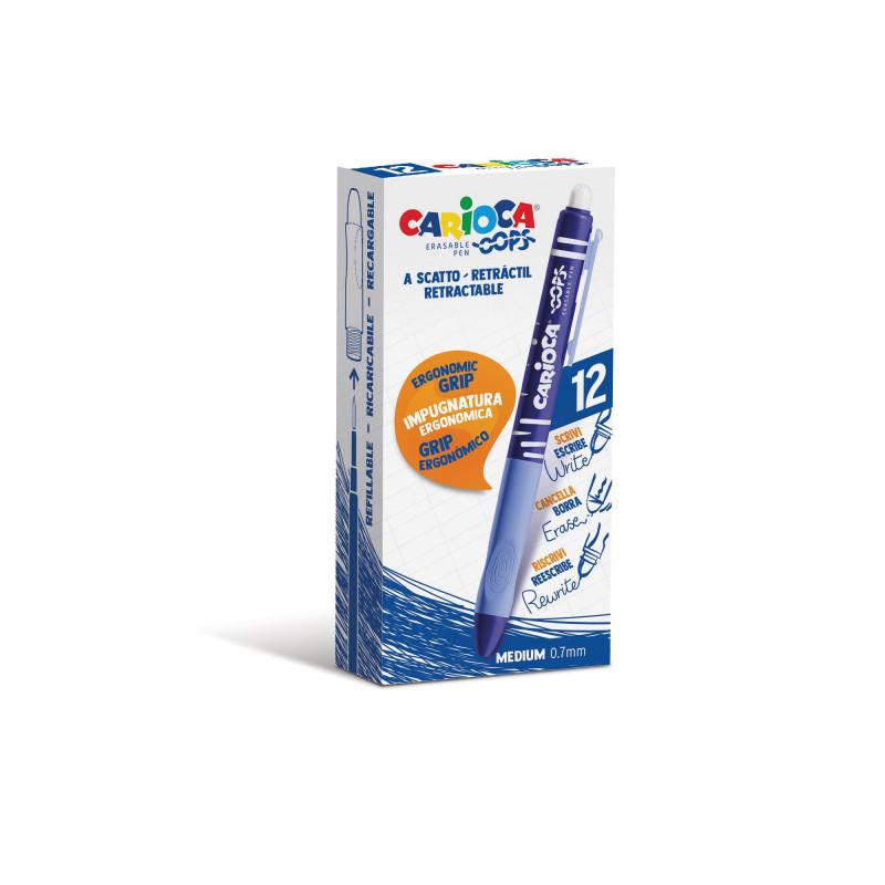 Penna Cancellabile a Scatto OOPS Blu - 12 pz