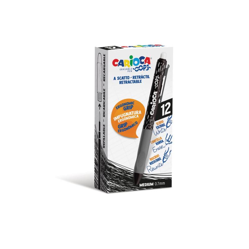 Penna Cancellabile a Scatto OOPS Nero - 12 pz