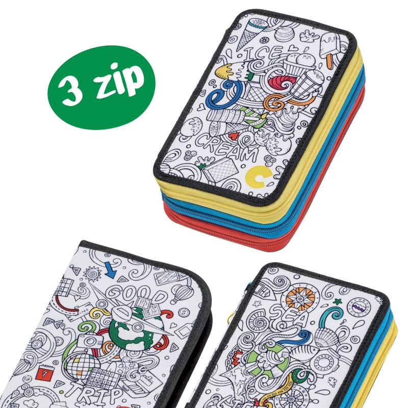 42912/ICE - CARIOCA - Astuccio 3 Zip con Materiale Scolastico COLOR Ice - Estuche - Pencil case - Trousse