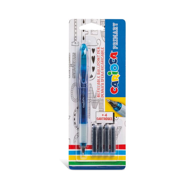 43248/02 - CARIOCA - Penna Roller Ricaricabile Blu con 4 Catucce - Bolígrafo Roller - Roller Pen - Stylo à Bille