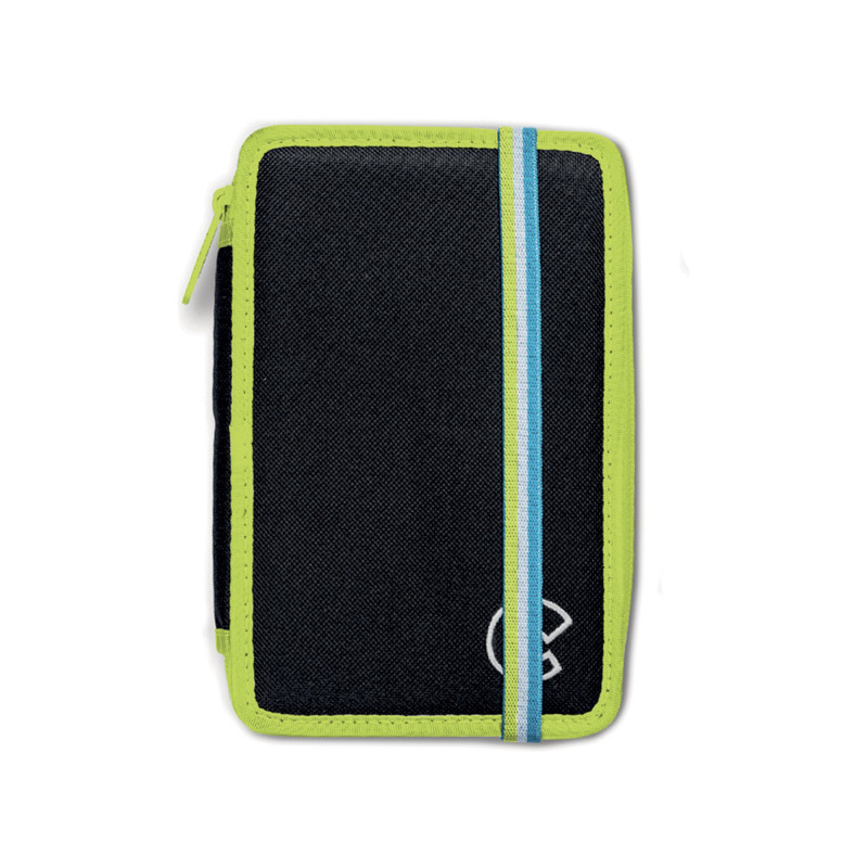 42802/BLACK - CARIOCA - Astuccio 3 Zip con Materiale Scolastico FLUO Nero - Estuche - Pencil case - Trousse
