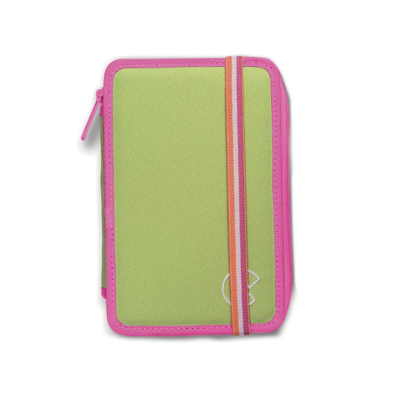 42802/GREEN - CARIOCA - Astuccio 3 Zip con Materiale Scolastico FLUO Verde - Estuche - Pencil case - Trousse