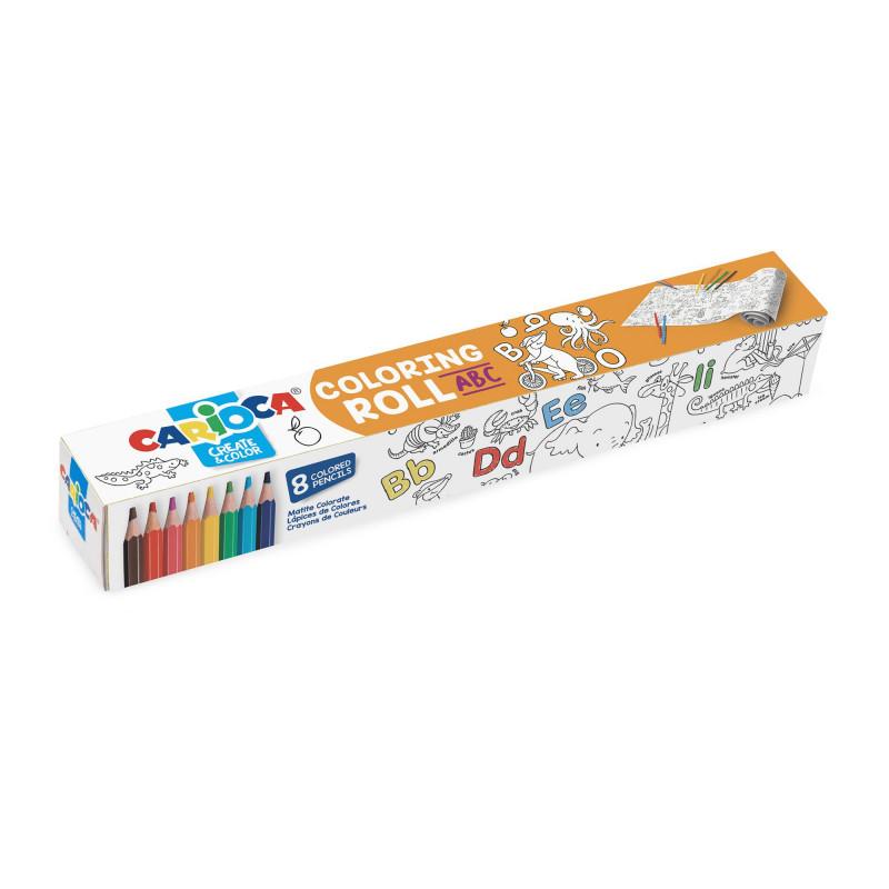 42979 - CARIOCA - Rotolo da colorare + 8 Matite ABC - Rollo adhesivo para colorear - Coloring roll - rouleau adhésif