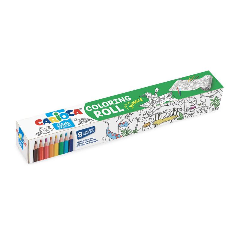42978 - CARIOCA - Rotolo da colorare + 8 Matite JUNGLE - Rollo adhesivo para colorear - Coloring roll - rouleau adhésif