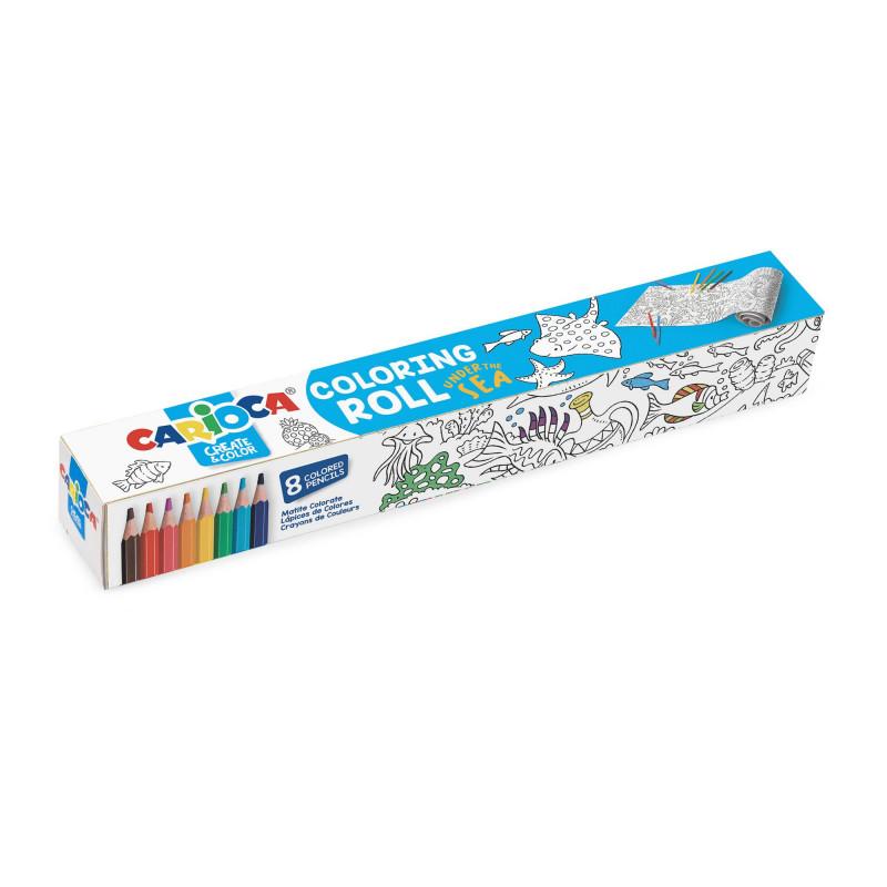 Rotolo di carta adesiva da colorare con 8 Matite Colorate COLORING ROLL - UNDER THE SEA