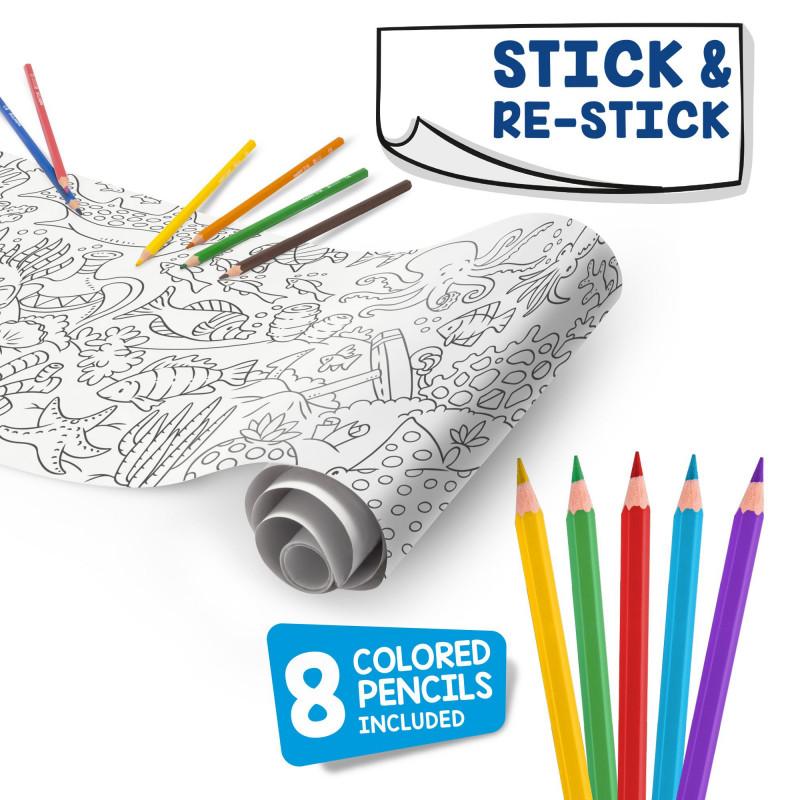 43023 - CARIOCA - Rotolo da colorare + 8 Matite UNDER THE SEA - Rollo adhesivo para colorear - Coloring roll - rouleau adhésif