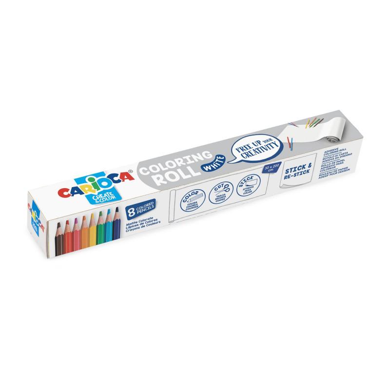 42980 - CARIOCA - Rotolo da colorare + 8 Matite WHITE - Rollo adhesivo para colorear - Coloring roll - rouleau adhésif