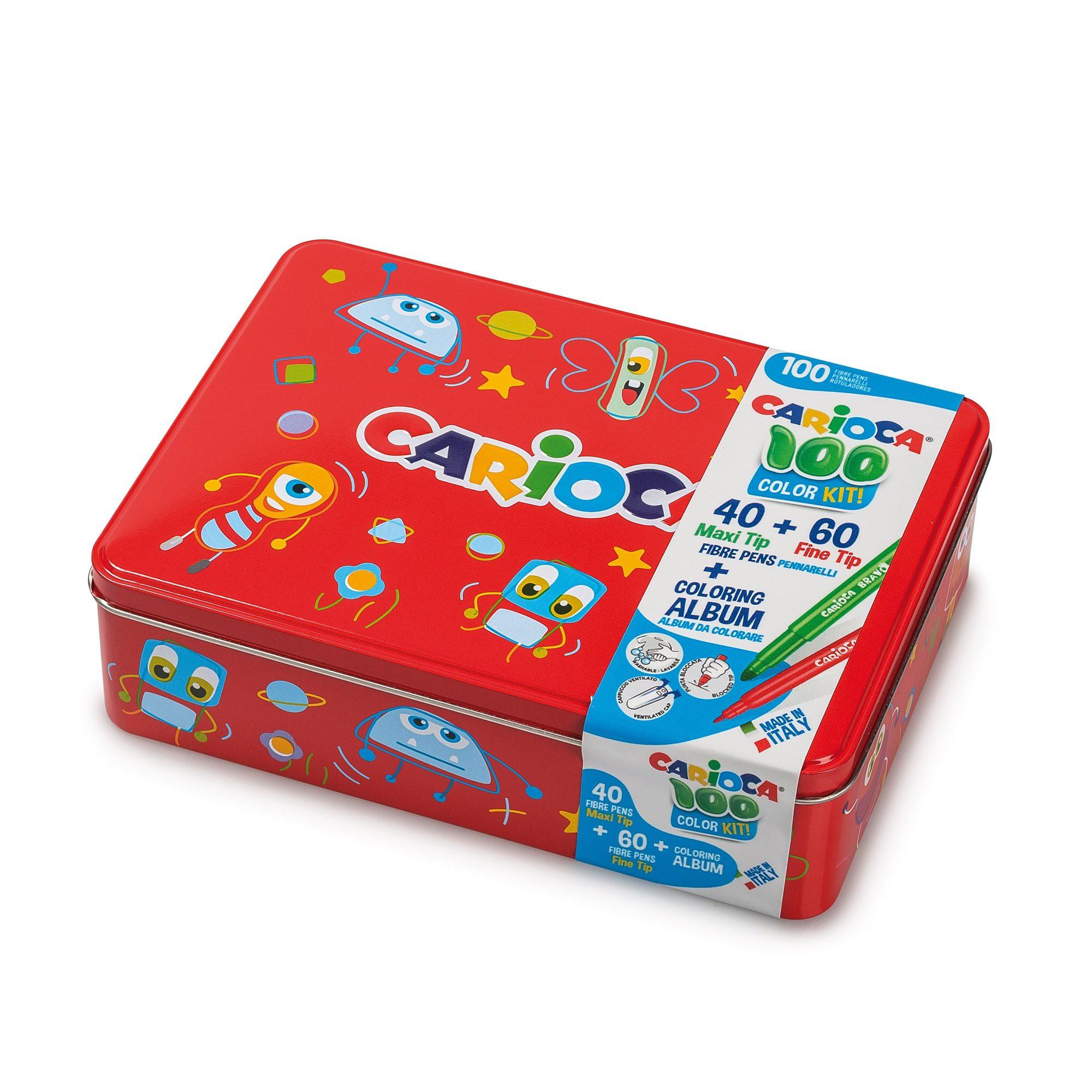 con Album da Colorare 42736//03 CARIOCA BOX Scatola Latta Rossa Pennarelli Superlavabili Punta Fine e Maxi 100 Pennarelli