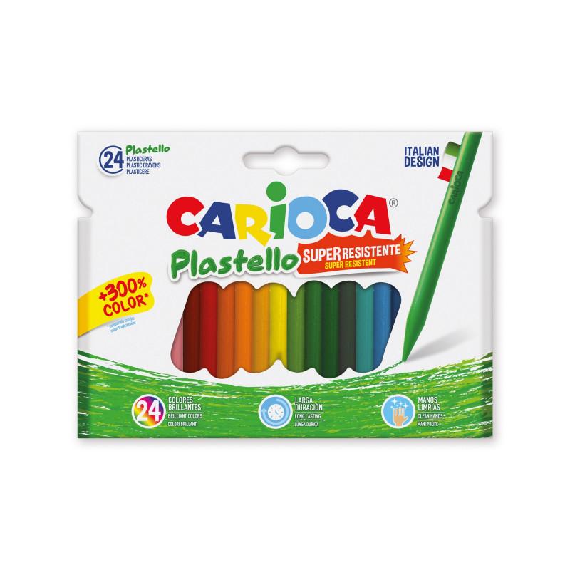 42880 - CARIOCA - Pastelli Cera Resistenti PLASTELLO 24 pz - Plasticeras Resistentes - Resistant Crayons - Pastels Résistant