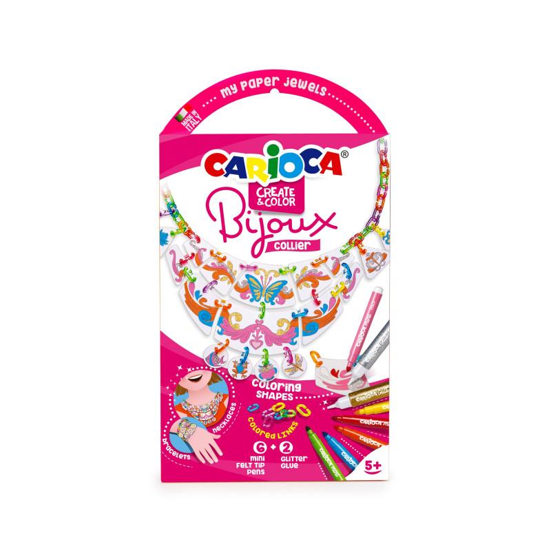 42900 - CARIOCA - Gioiellini da colorare con Pennarelli e 2 Glitter Glue BIJOUX COLLIER - Joyería De Colorear -