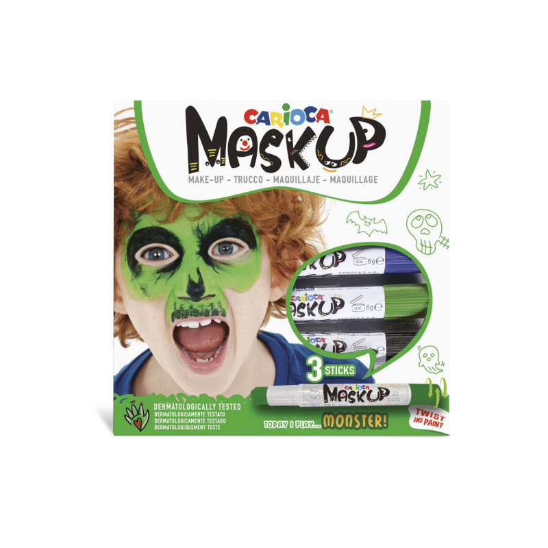 43051 - CARIOCA - Colori per la pelle MASK UP MONSTER 3 pz - Colores para la piel - Face paint - Peintures pour le visage