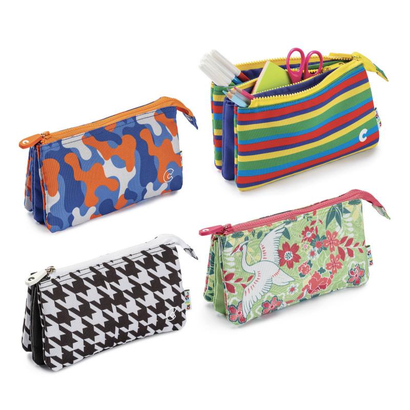23284/LINES - CARIOCA - Astuccio Multi-Tasche Righe - Estuche Multi-Espacio - Multi-Pocket Pencil Case - Trousse Multi-Poches