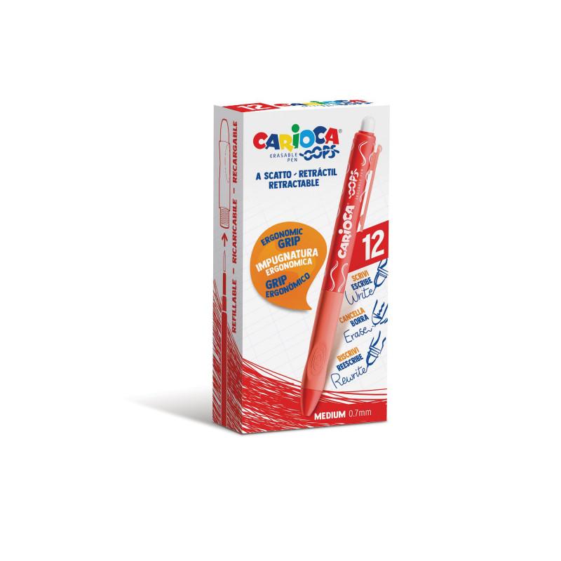 43043/03 - CARIOCA - Penna Cancellabile a Scatto OOPS rosso - Bolígrafo Borrable - Erasable Pen - Stylo Effaçable