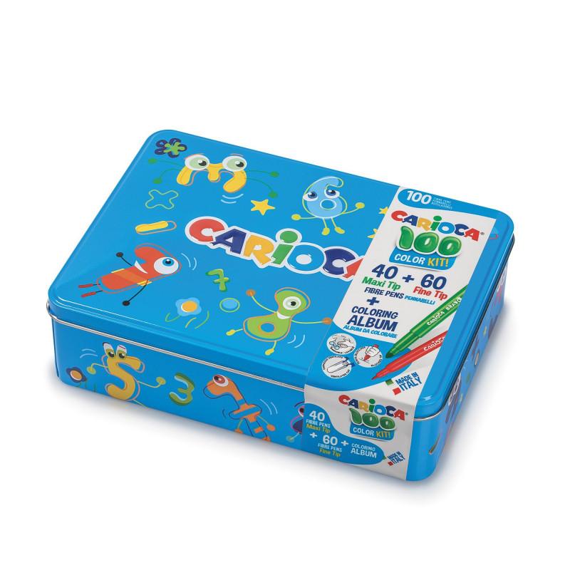42736/10 - CARIOCA - Scatola BLU + Album e 100 Pennarelli - Caja 100 Rotuladores - 100 Felt Tip Pens Box - Boîte 100 Feutres