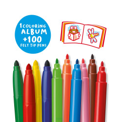 42736/04 - CARIOCA - Scatola VERDE + Album e 100 Pennarelli - Caja 100 Rotuladores - 100 Felt Tip Pens Box - Boîte 100 Feutres